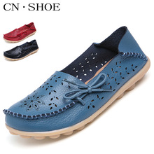 2016 New Summer Shoes Women Genuine Leather Flats Fashion Casual Soft Mother Loafers Moccasins Female Driving Shoe Wholesale