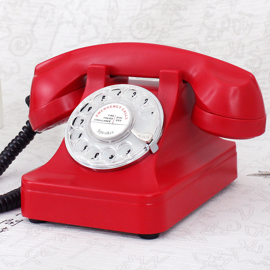 Old telephone rotary dial antique telephone vintage telephone red Handsfree phone(China (Mainland))