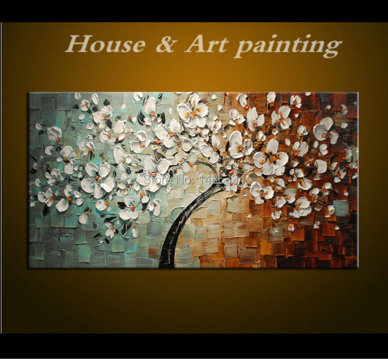 Hand-made Large Canvas Art Oil Painting Palette knife 3D Flowers Abstract Paintings Modern House Sitting Room Decor Wall Picture(China (Mainland))