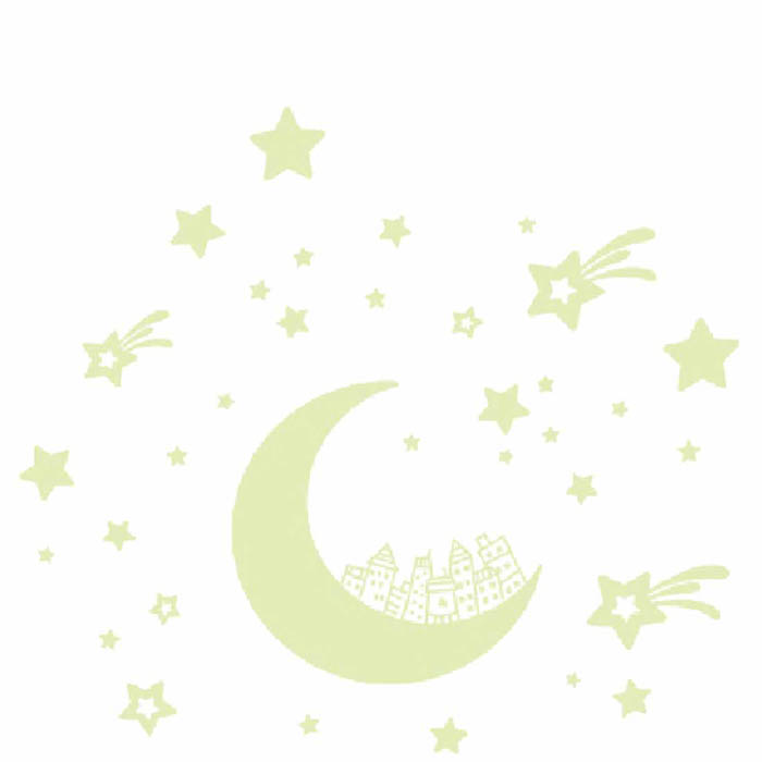 Warm Corner LM  Cartoon Moon Star City Glow In Dark Luminous Fluorescen Wall Decal Sticker Decor, Aug 19