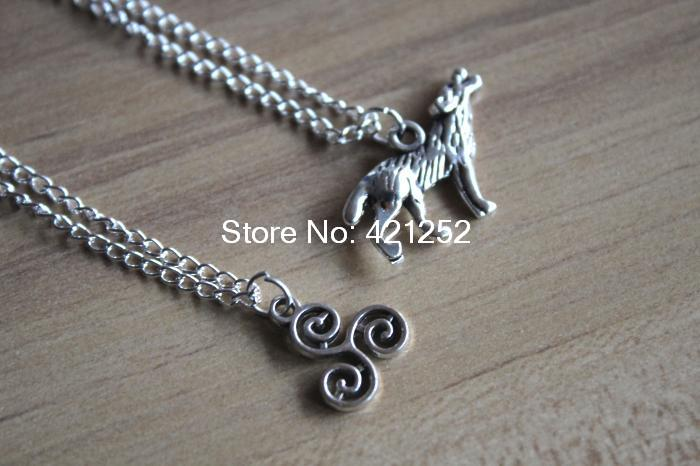 20pcs teen wolf inspired necklace wolf Derek Pack necklace jewelry silver antique jewelry(China (Mainland))