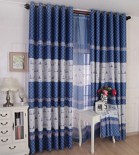 The blue mediterranean custom children room curtains for Fabric for boys room