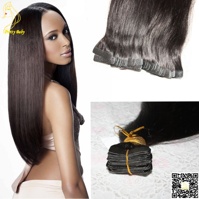 "Cheap Skin Weft Tape Human Hair Extensions Brazilian Virgin Hair Straight Skin Weave 12 Color Texture Available 100g/lot 12""-32""(China (Mainland))"