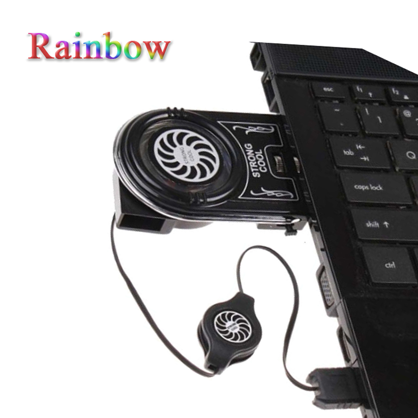 Rainbow USB Cooler Air Extracting Mini Laptop Cooling Pad Fan Notebook Free shipping Wholesale(China (Mainland))