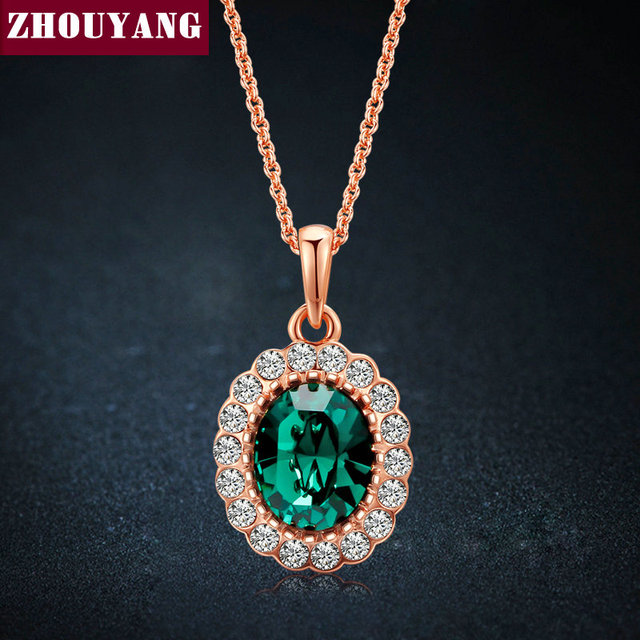 Elegant Emerald 18K Gold Pated Green Colorful Crystal Pendant Necklace CZ Diamond For Women Wedding Party Top Quality ZYN247