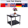 Black Glass Stainless Steel Small Display Stand Home Office Drink Table Side Coffee Table Furniture