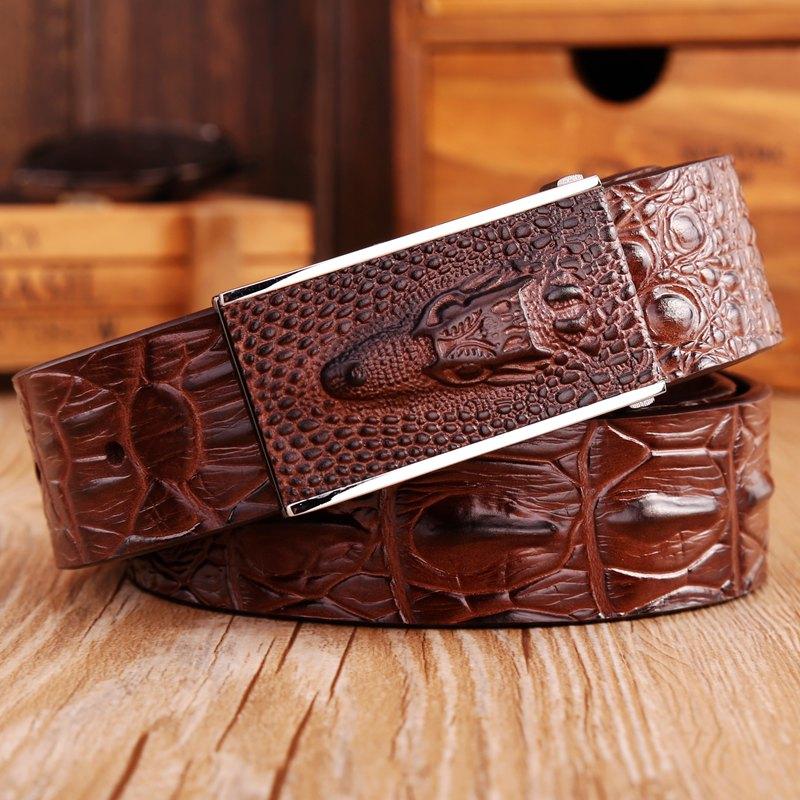 2016 brand new fashion crocodile smooth buckle genuine leather belt coffee mens belts luxury cowboys waist strap size 125cm(China (Mainland))