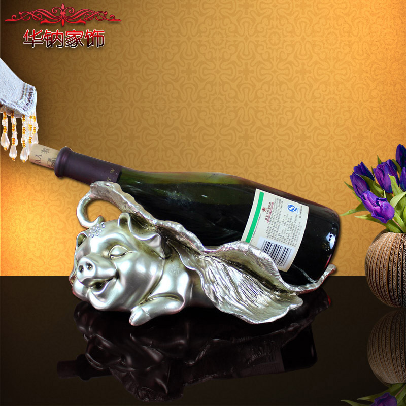 2016 Promotion Rushed Retro Lucky Fu Pig Wine Rack Home Furnishing Decor Practical Living Room Cabinet Display Resin Decoration(China (Mainland))
