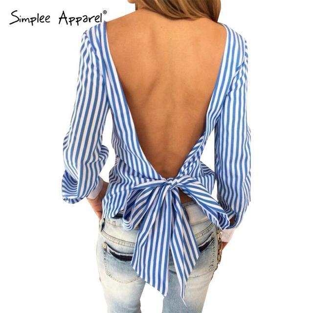 Simplee Одежда лето сексуальная спинки синий в полоску женщины блузки 2016 новые ...