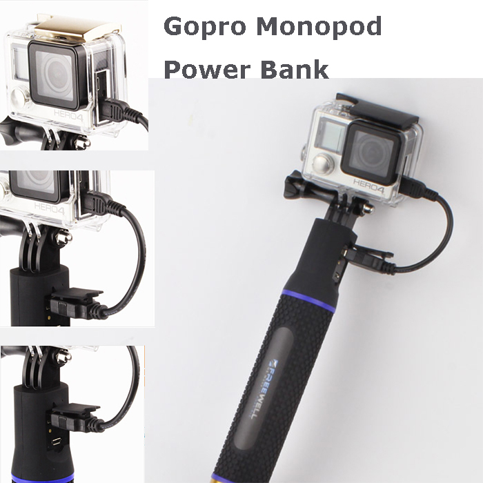 Gopro Extra power Bank 5200mAh USB charger for Gopro Hero 4 S4000 Xiaomi yi action camera mini camcorders(China (Mainland))