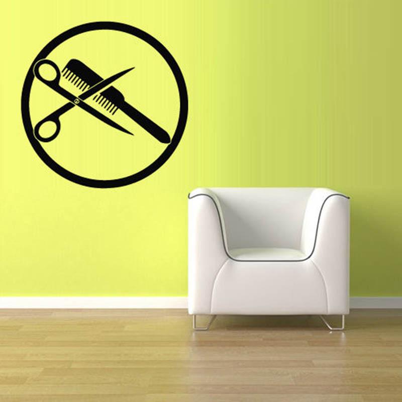 ... Scissors Brush Comb Hair Salon Wall Sticker Home Decor Vinyl Decal Wall Art Mural Paper ...