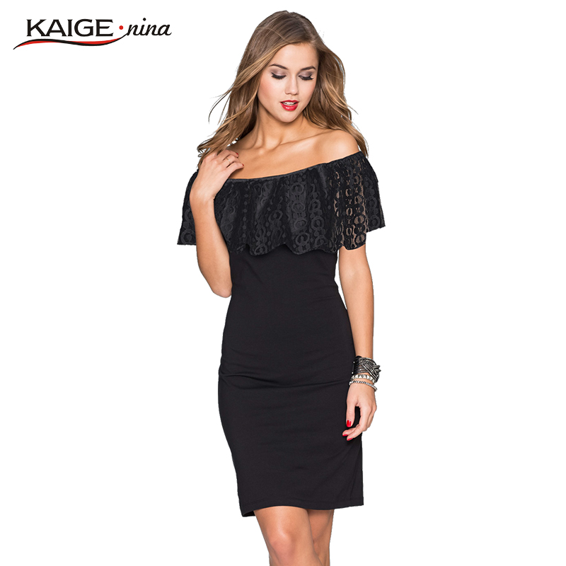 Kaige Nina Women Dress summer Bodycon Dresses lace Plus Size Chic Elegant shoulder Evening Party Dresses 9023