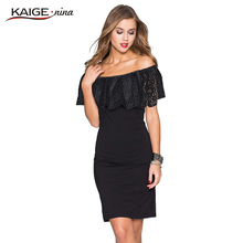 Kaige Nina Women Dress summer Bodycon Dresses with lace Plus Size Chic Elegant off shoulder Evening Party Dresses 9023(China (Mainland))