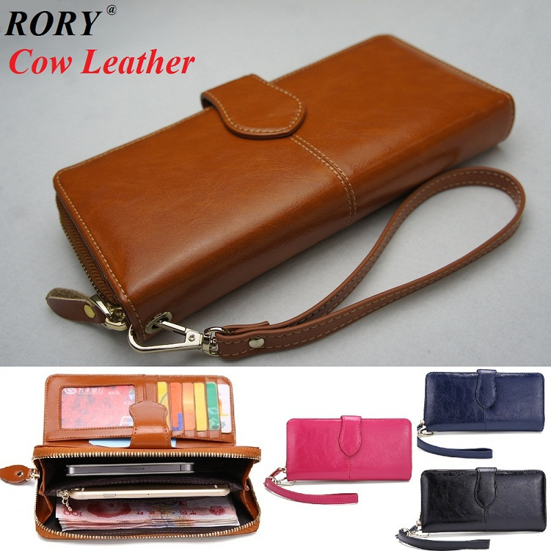 2015 New Vintage oil cured cowhide genuine leather wallet Womens zip clutch long ladies purse(China (Mainland))