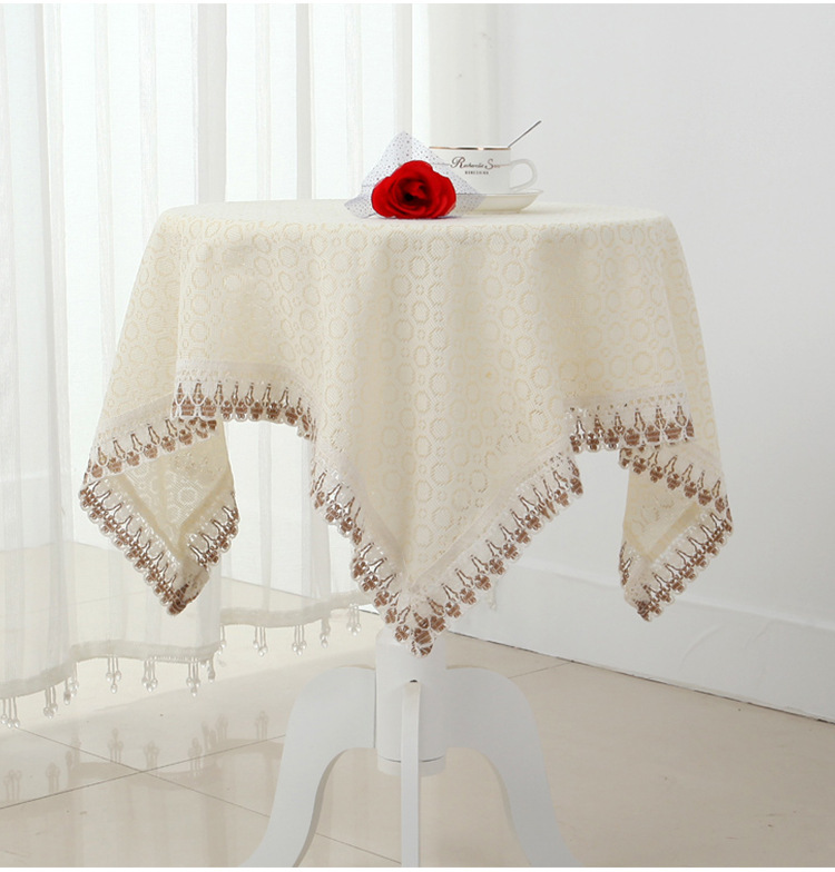 High quality cotton & linen Square Round table colth Lace Crochet tablecloth for Wedding decoration Home textile Cabinet Cover(China (Mainland))
