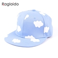 ladies hip hop hats pink and blue clouds in summer fresh and cute casual flat brimmed
