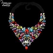 Dvacaman 2016 V Shaped Rhinestone Necklace&Pendants Water Drop Crystal Statement Necklace Women Choker Collar Custom Jewelry A21(China (Mainland))