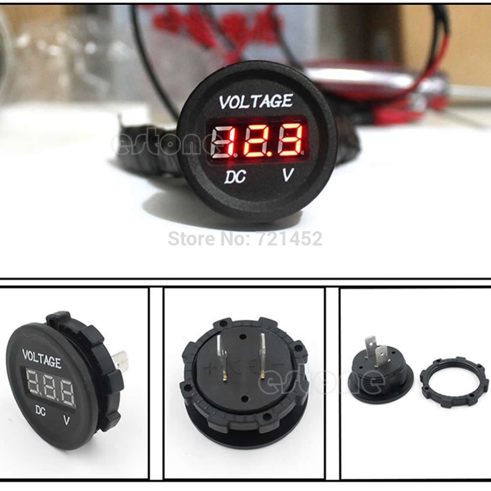 L155 Free Shipping Waterproof DC 12V 24V Car Motorcycle LED Digital Display Voltmeter Meter Perfect