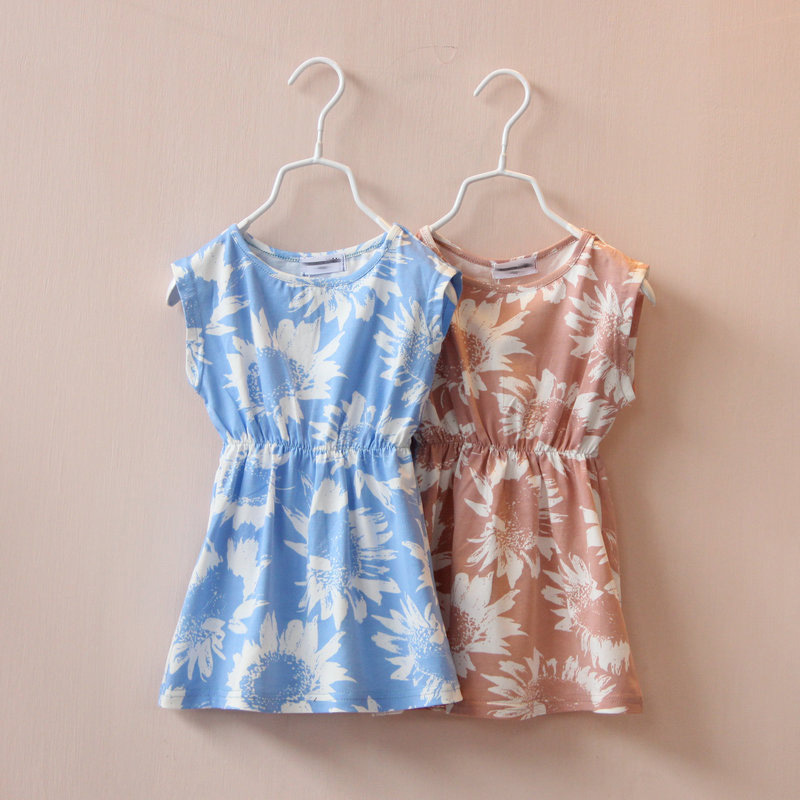 2015 Summer New Children's Clothing Kids Clothes meninas Casual Cotton Dresses Baby Girl Sunflowers Waist Sleeveless Beach Dress(China (Mainland))