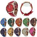 Feitong New Casual Watch Women Dress Watches Roman PU Leather Quartz WristWatch For Women Men relogio