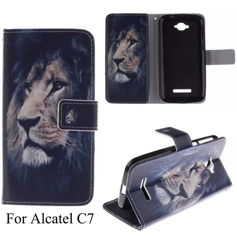 Tiger Lion Owl Flower Sexy Girl Words Color Printing 10 Design Canvas Mobile Phone Case For Alcatel C7 With Wallet Card Slot(China (Mainland))