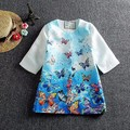 Retail Girls Dress 2016 Children Clothing Winter Girls Clothes Vestidos Butterfly Printed Kids Dresses for Girls
