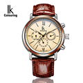 2016 News Multi Functional Calendar 24Hours 3Eyes Design Luxury Men Automatic Self Wind Watch Leather Strap