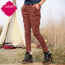 LIEBO 2015 Winter New Arrival 100%Cotton Casual Pants Women Straight Type Elastic Waist Comfort Slim Trousers Long 51151135(China (Mainland))