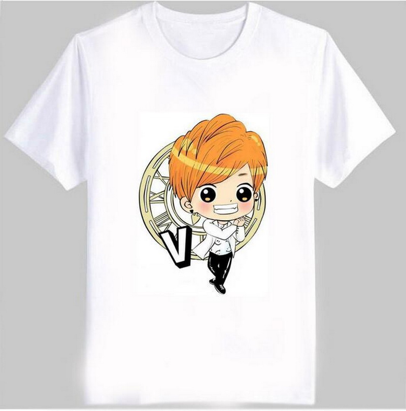 Bts member cartoon images print cute unisex t shirt kpop Bangtan Boys suga j-hope v t shirt women white short sleeve bts top tee(China (Mainland))