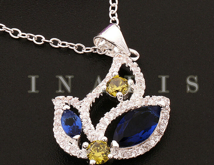 Blue Crystal new 925 sterling silver pendant necklace Ms.(China (Mainland))