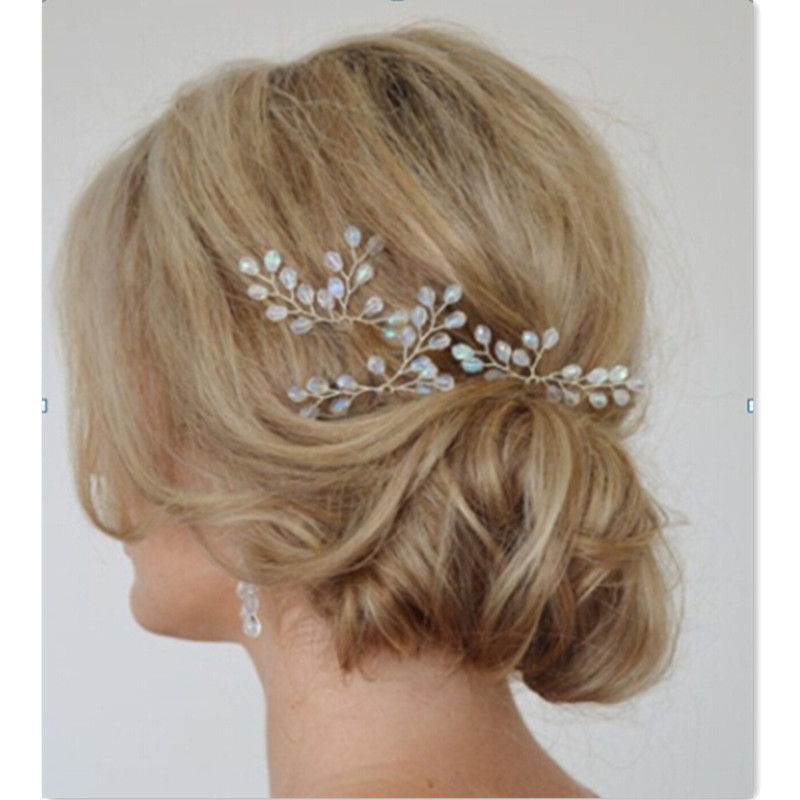Wedding Hair Accessories Bridal Head Piece with Crystal Hair Pins and Clips Accessoires Cheveux Mariage Hand Bridal Jewelry(China (Mainland))