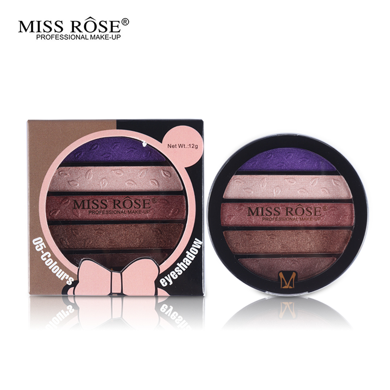 Professional New 5 Colors Eye Shadow Round Palette Makeup Glitter Pigment Eyeshadow Make Up Palette Layering Miss Rose Cosmetics(China (Mainland))