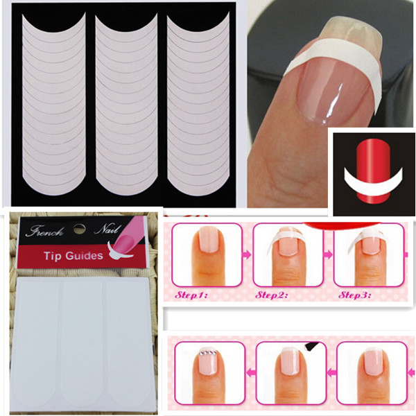 5pcs White Nails Sticker Tips Guide French Manicure Nail Art Decals Form Fringe Guides DIY Styling Beauty Tools(China (Mainland))