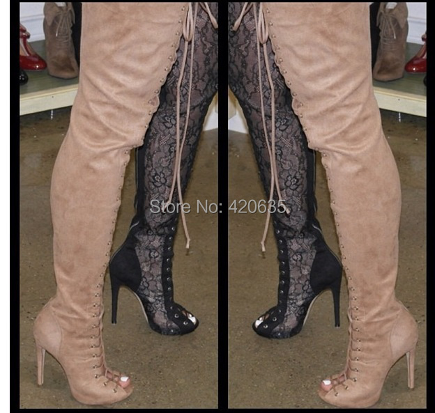 Wholesale Piarry Peep Toe Suede Lace Up Thigh High Boots Tan ...
