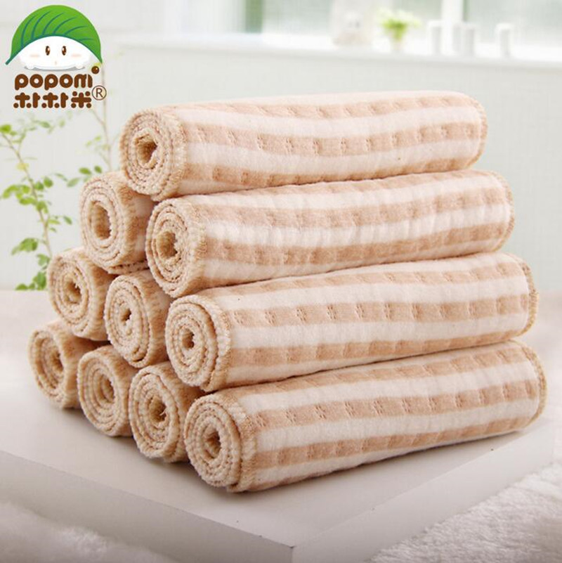10 PCS/LOT Organic Cotton 3 Layer Insert Baby Training Pant Babies Reusable Diapers Cloth Diaper Washable Infant Nappies Diapers(China (Mainland))