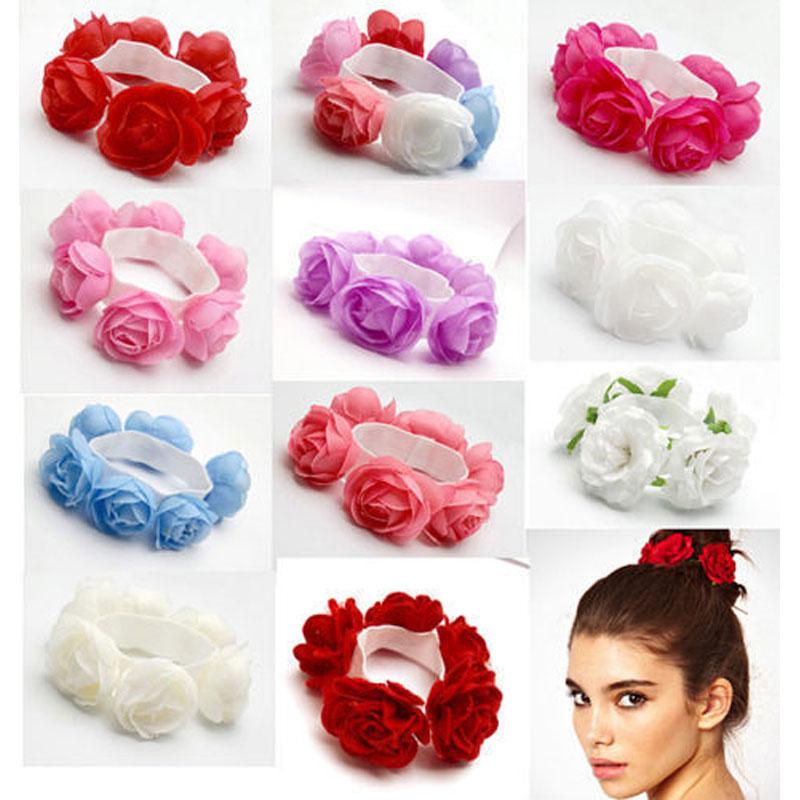 Women Girl Flower Elastic Hair Band Rope Ring Ponytail Holder Hair Accessories Flower Bun Garland Head Knot Hair Top Scrunchie(China (Mainland))