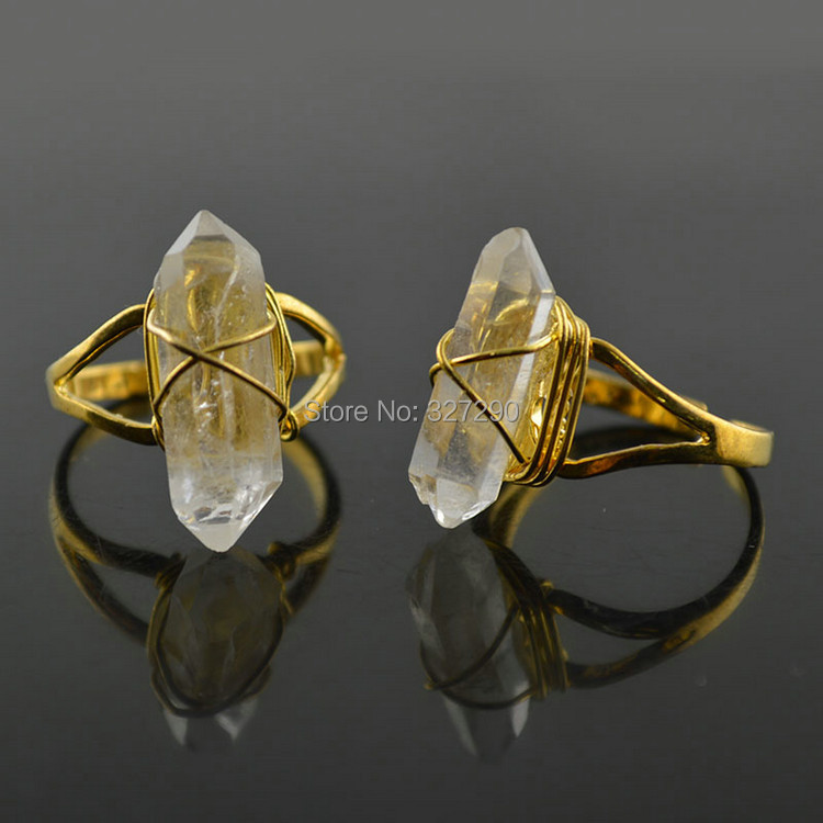 Natural Rock Clear Crystal Pillar Adjustable Rings Handmade Wire Wrapped Jewelry For Women Wedding Finger Ring 10pc/lot <br><br>Aliexpress