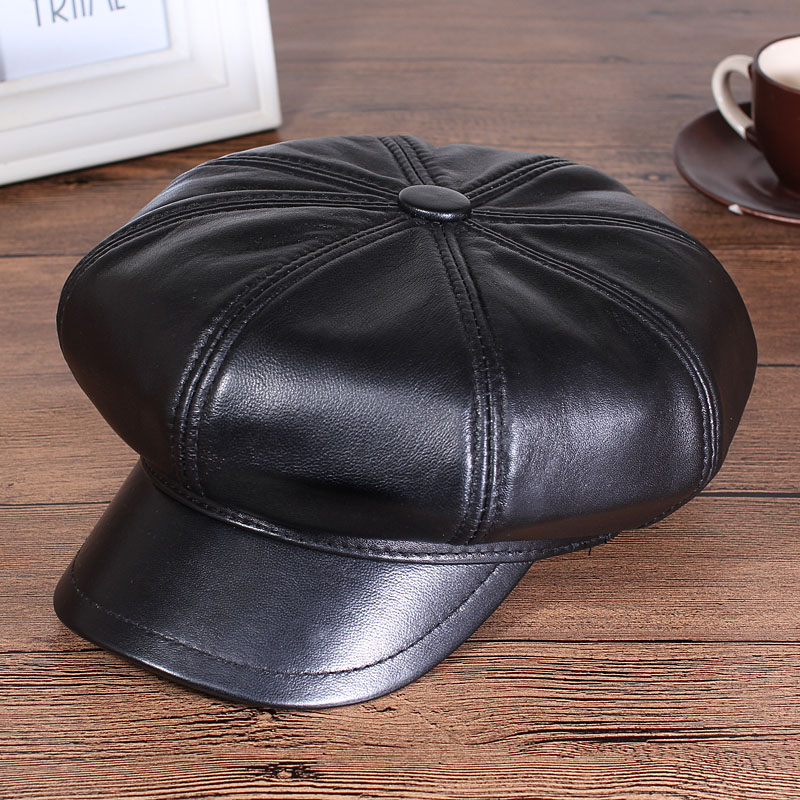 fitted brown leather baseball cap caps hat unisex fashion octagonal font genuine sheepskin
