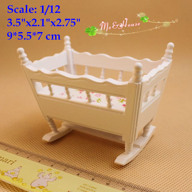 1/12 Scale Dollhouse Miniature Furniture Artist White Crib Doll House Baby Room Furniture Accessory(China (Mainland))