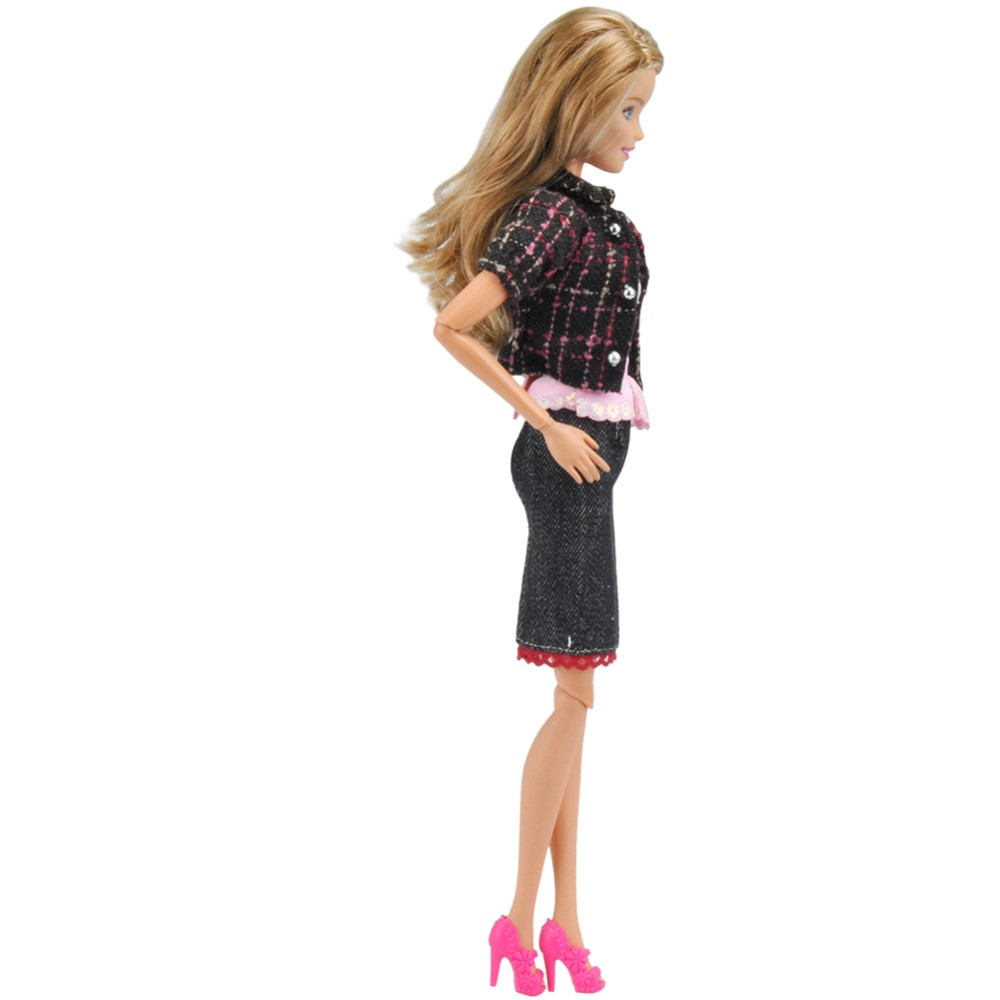 E-TING Handmade Doll Garments Informal Put on Outfit + Purse + Sneakers for Barbie Dolls