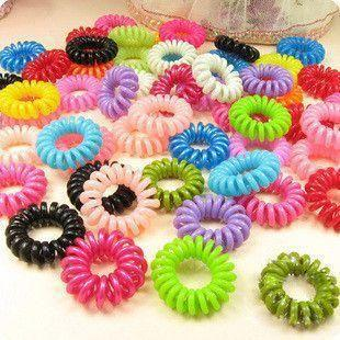Wholesale 30 pcs mulit-color Telephone Wire Cord Girl Elastic head Tie Hair Band(China (Mainland))