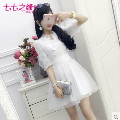 Summer new Women Korean White Net yarn lace V-neck lantern sleeve Chiffon lady Dress Lolita Palace sweet cute Bow fashion dress(China (Mainland))