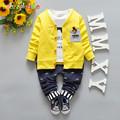 babzapleume Brand Spring Autumn Casual Kids Boy Clothes T Shirt Pant Coat 3PCS boys suit Toddler