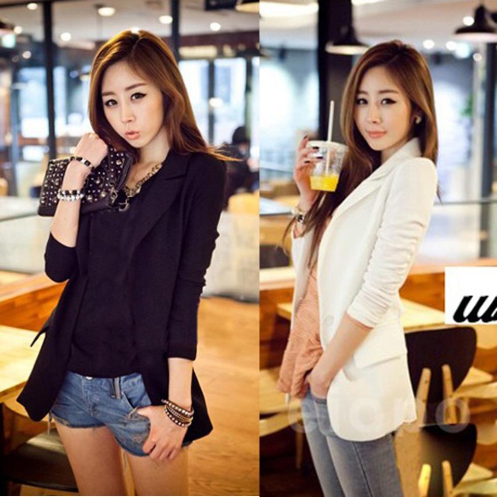 2015 Women Suit Tops Blazer Women Jackets Chiffon Coat Contrast Polo Neck New Korean Style Long Sleeve Casual Blazer White BlackОдежда и ак�е��уары<br><br><br>Aliexpress