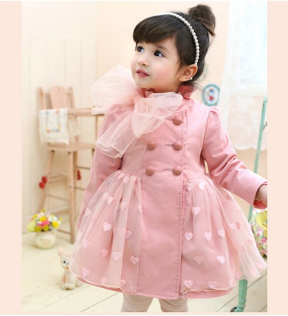 2014 New Arrival Freeshipping Long Free Shipping!wholesale New Fashion Spring And Autumn Heart Girls Trench Children Overcoat