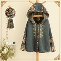 New Shelves In Autumn Women Jacket Hooded Casual Fashion Mori Girl Coat Outwear Ethnic Printing Embroidery