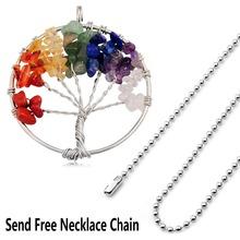 Round Shape 7 Chakra Crystal Stone Wisdom Tree Of Life Pendants Healing Reiki Jewelry Natural Stone Necklace For Women(China (Mainland))