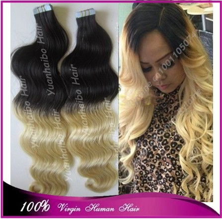 Best 7A quality 1b/613# 100 virgin brazilian hair body wave blonde ombre hair two tone tape hair extension 300g/lot(China (Mainland))