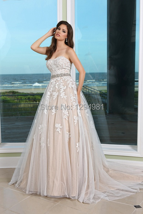 Champagne Wedding Dresses A Line : New champagne ivory tulle lace applique wedding dress