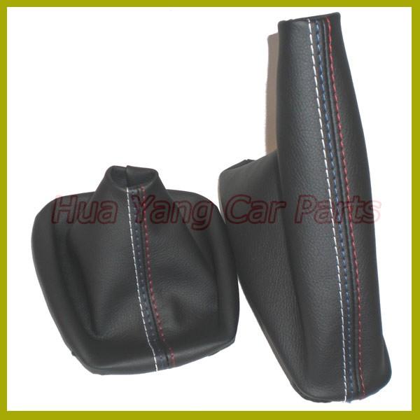 Free Shipping Car Shift Gear Stick Manual Handbrake Gaiter Shift Boot Black Leather Boot For BMW 3 Series E36 E46 M3 Car Styling(China (Mainland))